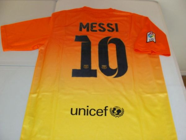 sports shoes 47269 82516 #10 LIONEL MESSI FC Barcelona La Liga Forward Orange/Yellow Mint Throwback  Uniform Kit