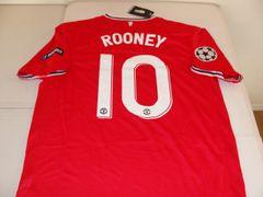 "#10 WAYNE ROONEY Manchester United EPL F/MF Red/White ""Champions League"" Mint Throwback Uniform Kit"