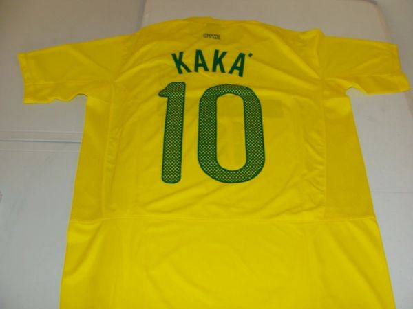 #10 Ricardo KAKA Brasil National Team FIFA MF Yellow Mint Throwback Jersey