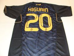 #20 GONZALO HIGUAIN Real Madrid CF La Liga Striker Black Mint Throwback Jersey
