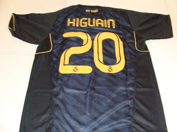 #20 GONZALO HIGUAIN Real Madrid CF La Liga Striker Black Mint Throwback Jersey
