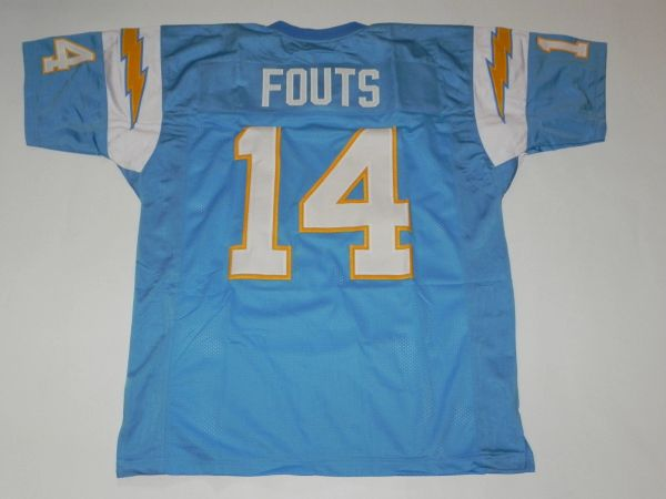 #14 DAN FOUTS San Diego Chargers NFL QB Blue Throwback Jersey