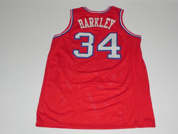 new concept 97f16 f2c71 #34 CHARLES BARKLEY Philadelphia 76ers NBA PF Red Throwback Jersey