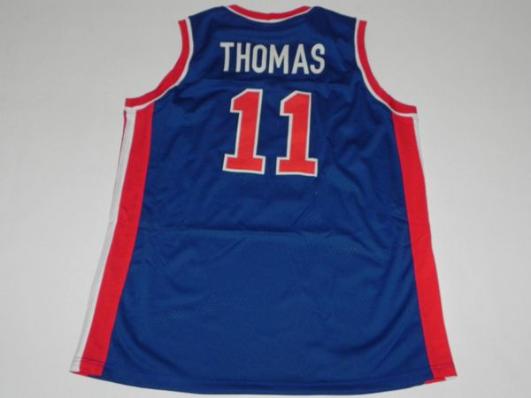 #11 ISIAH THOMAS Detroit Pistons NBA PG Blue Throwback Jersey