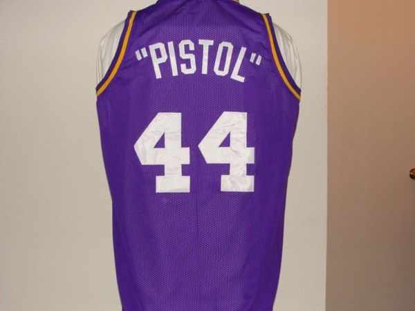 #44 PETE MARAVICH NO/Utah Jazz NBA Guard Purple Throwback Jersey