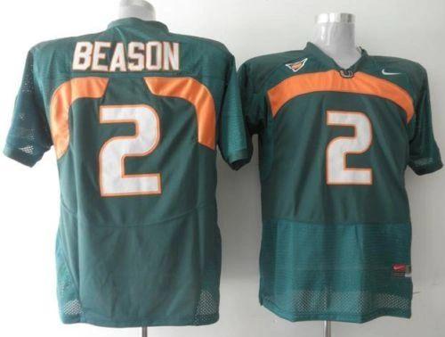 #2 JON BEASON Miami Hurricanes NCAA LB Green Throwback Jersey