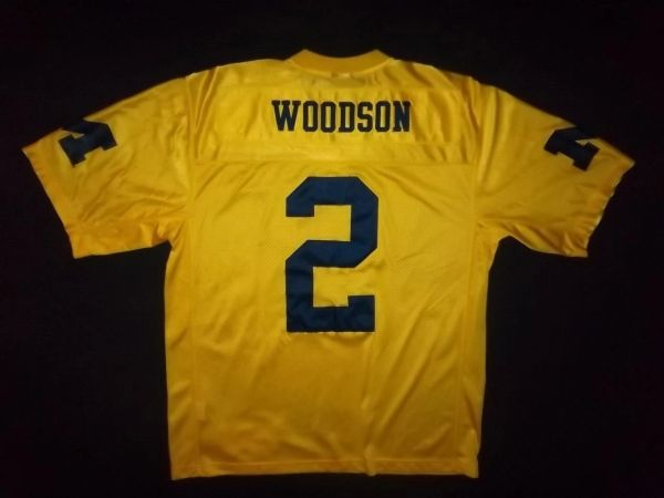 half off ff53c 32a50 #2 CHARLES WOODSON Michigan Wolverines NCAA CB/PR/WR Yellow Throwback Jersey