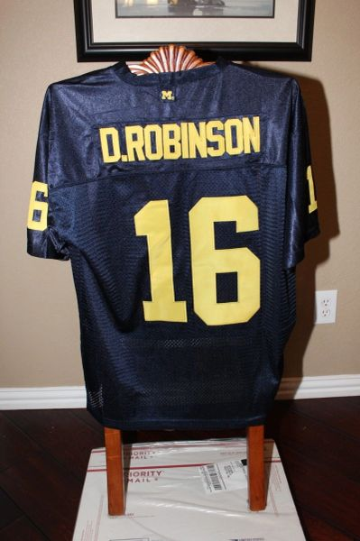 uk availability 4df2e 495ad #16 DENARD ROBINSON Michigan Wolverines NCAA QB Blue Throwback Jersey