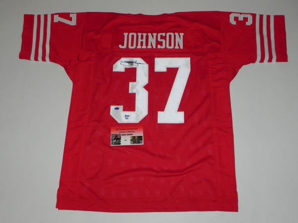 #37 JIMMY JOHNSON San Francisco 49ers NFL CB Red Throwback Jersey AUTOGRAPHED