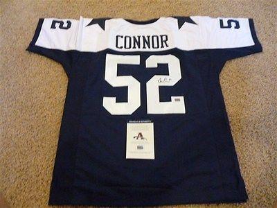 #52 DAN CONNOR Dallas Cowboys NFL LB Blue TG Throwback Jersey AUTOGRAPHED
