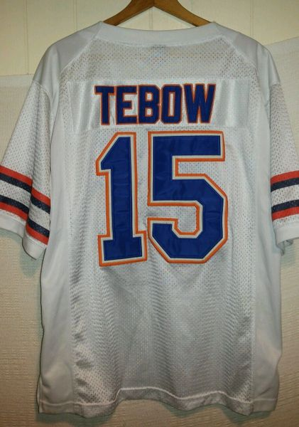 sports shoes 0f0cf 76955 #15 TIM TEBOW Florida Gators NCAA QB White Throwback Jersey