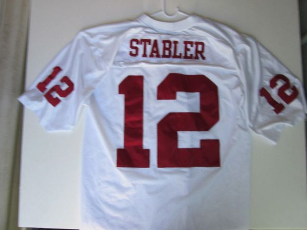 uk availability 8b1e0 28721 #12 KEN STABLER Alabama Crimson Tide NCAA QB White Throwback Jersey