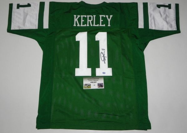 #11 JEREMY KERLEY New York Jets NFL WR/RS Green Throwback Jersey AUTOGRAPHED