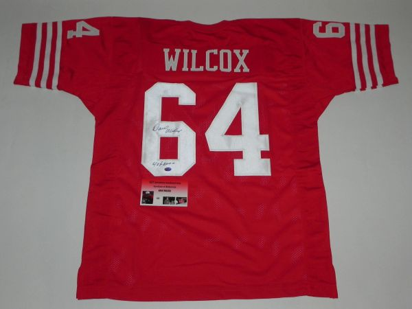 low priced 9cb5c 65e97 #64 DAVE WILCOX San Francisco 49ers NFL LB Red Throwback Jersey AUTOGRAPHED