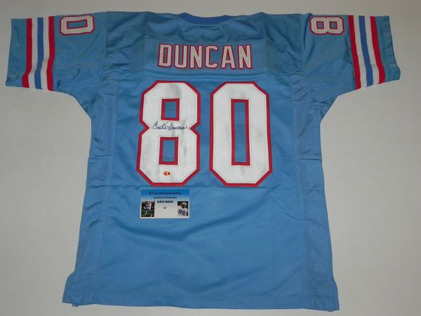 #80 CURTIS DUNCAN Houston Oilers NFL WR Blue Throwback Jersey AUTOGRAPHED