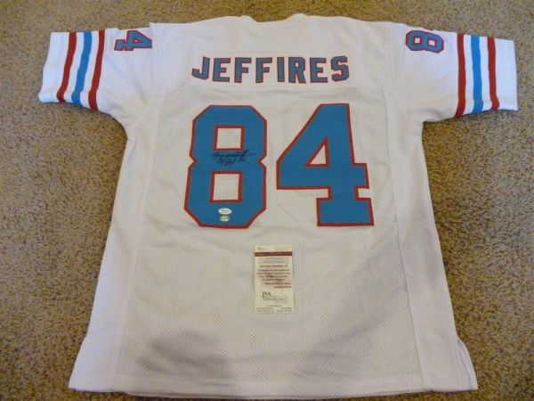 #84 HAYWOOD JEFFIRES Houston Oilers NFL WR White Throwback Jersey AUTOGRAPHED