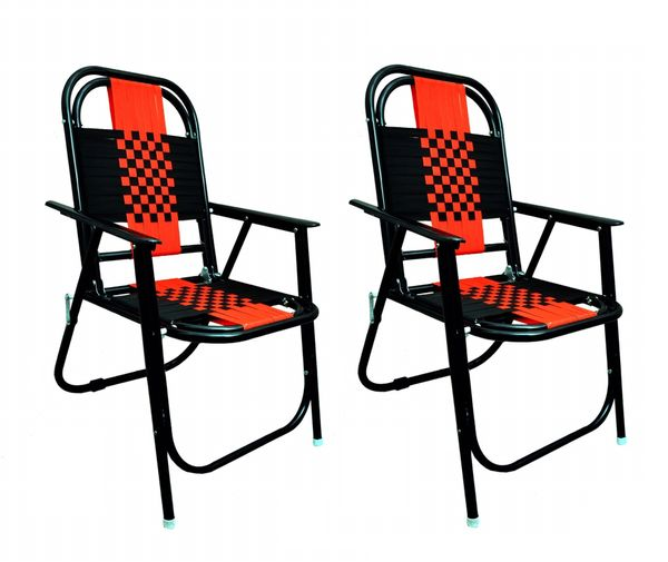 MBTC Familo Stripe Living Room Folding Chair in Black ( Set of 2 Pcs )