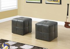 MBTC Monarch Ottoman Pouffe Cubic Stool in Charcoal Black (Set of 2 Pcs)