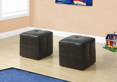 MBTC Monarch Ottoman Pouffe Cubic Stool in Brown (Set of 2 Pcs)