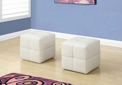 MBTC Monarch Ottoman Pouffe Cubic Stool in White (Set of 2 Pcs)