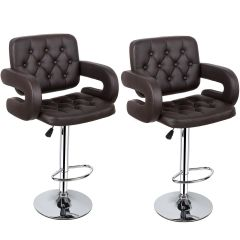 MBTC Astride Premium Kitchen Bar Stool Chair in Brown (Set of 2 Pcs)