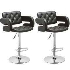 MBTC Astride Premium Cafeteria Bar Stool Chair in Black (Set of 2 Pcs)