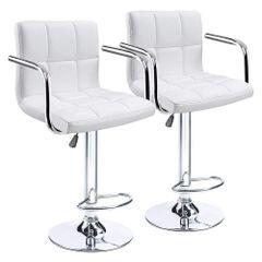 MBTC Cadbury Handrest Kitchen Cafeteria Bar Stool Chair in White (Set of 2)