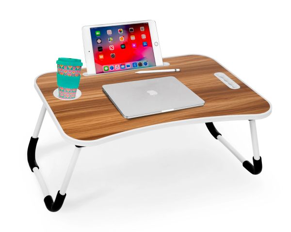 MBTC Worksmart Multipurpose Foldable Laptop Table/Lapdesk/Study Table with Tablet & Mobile Stand, Cupholder, Handle