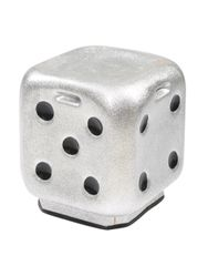 Dice stool In metallic Silver