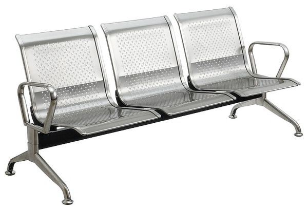 MBTC Three seater waiting chair in stainless steel