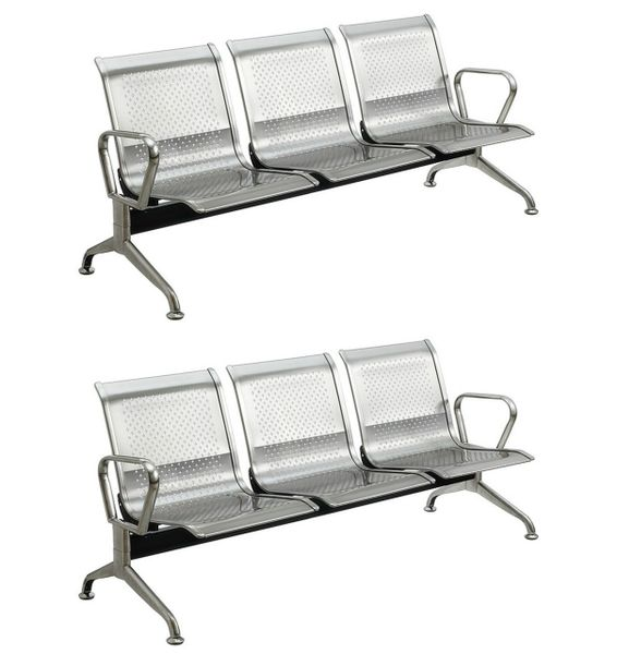 MBTC Three Seater Visitor chair In Stainless Steel ( Set of 2 )