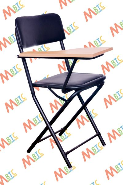 MBTC Ambient Folding Student Training Institution Writing Pad Folding Chair in Black