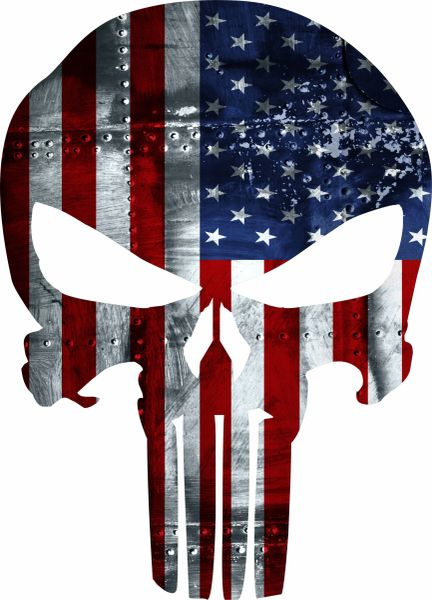 PUNISHER AMERICAN USA SNIPER COLOR FLAG SKULL DIE CUT VINYL DECAL STICKER JDM