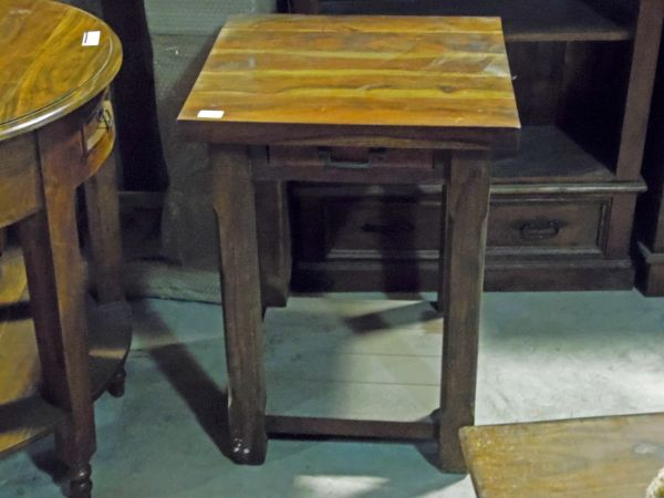 Small Square End Table with Drawer - Mango Wood