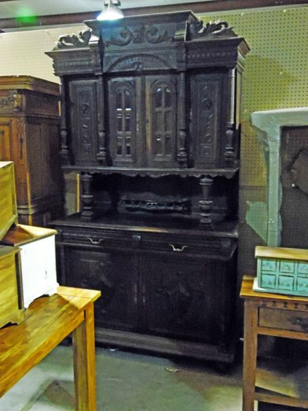 Carved Cupboard or Hutch - Black Finish