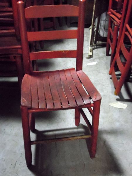 Wood Slat Seat Chair - Red