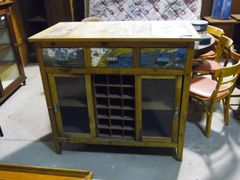 Cabinet with Center Wine Rack - Reclaim Wood