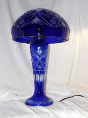 Cut to Clear Glass Table Lamp with Lighted Base - Cobalt Blue
