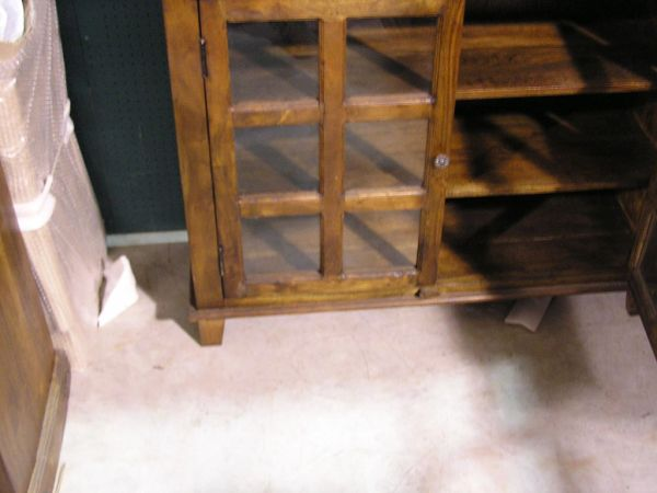 Glass Door Bookcase Cabinet - Mango Wood
