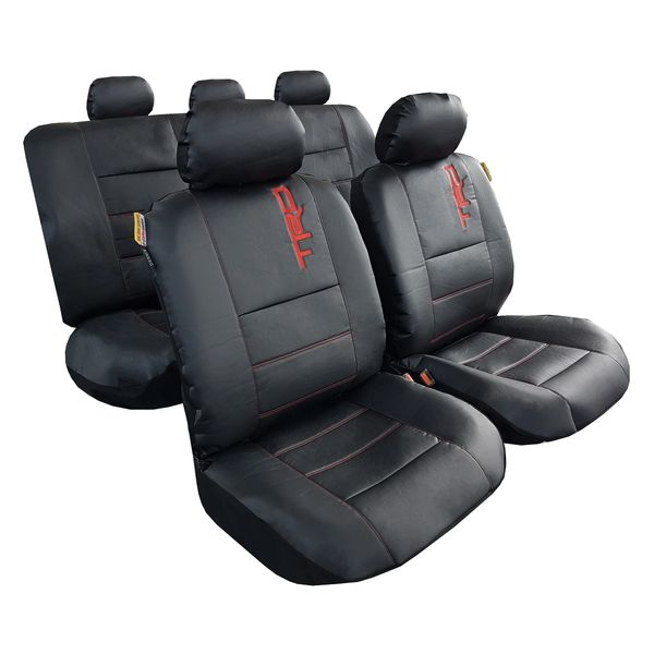 Leather Look Red Black  Full Car Seat Covers Set 5 Headrest Air Bag Suitable
