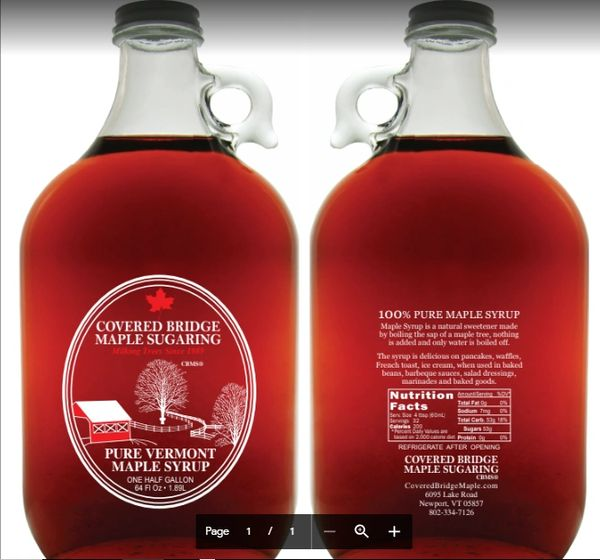 1/2 Gallon Glass Jug of Pure Vermont Maple Syrup