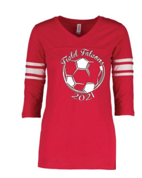 Field Ladies Soccer Ladies fit 3/4 Striped Sleeve T Shirt