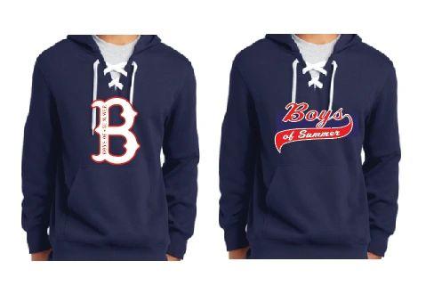 "Navy Hockey Hoodie with ""B"" Logo or Script Logo"