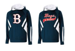 "Navy Hoodie with White Stripes with ""B"" Logo or Script Logo"