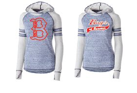 Ladies Navy Lightweight Hoodie with Contrasting Sleeve Colors