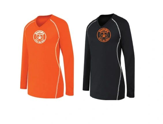 Ladies Long Sleeve Contrast Stitching Dri Fit Shirt WITH REFLECTIVE LOGO ON BACK
