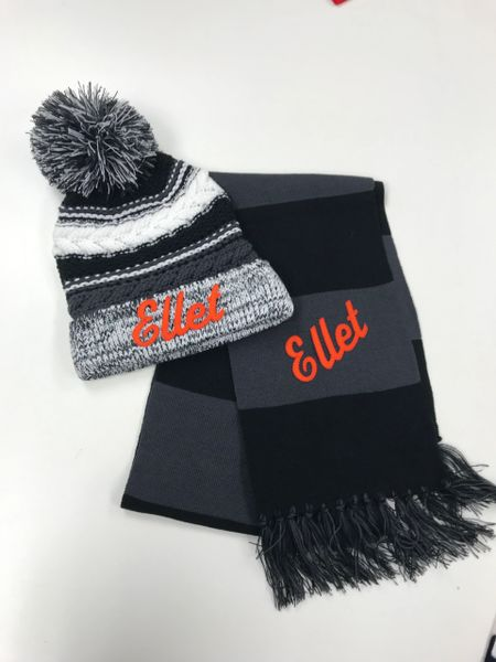 Ellet SALE - Pom Pom Hat and Scarf Combo Sale!