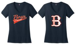 "Navy Womens V Neck with ""B"" Logo or Script Logo"