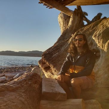 Brian Africa - wood debris fort on the beach photo
