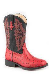 Girls Roper Red Ostrich Boot